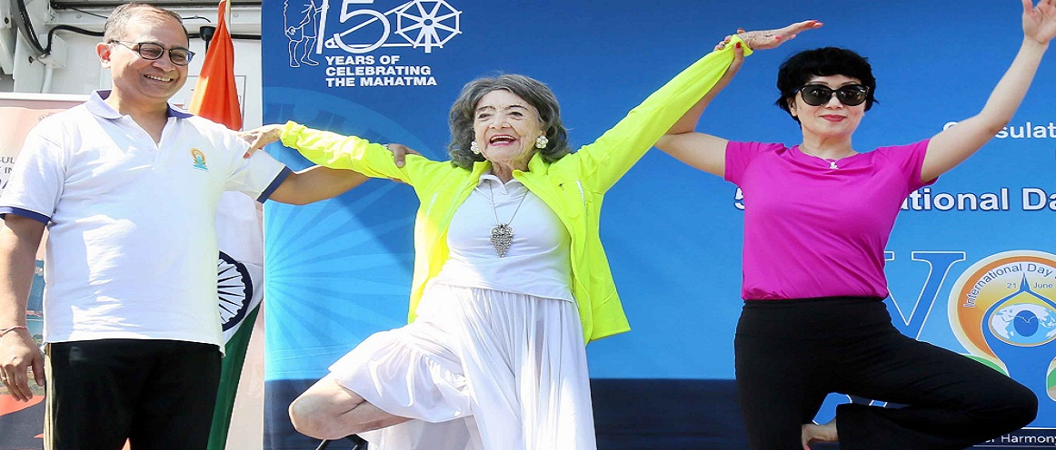 Yoga Master Tao Porchon Lynch performing Yoga Asanas at 5th  International Yoga Day celebrations on June 23, 2019