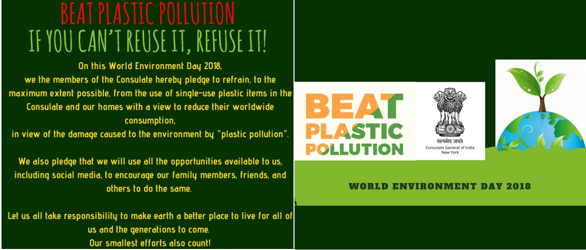 Consulate staff members took a pledge to beat plastic pollution on World Environment Day, June 5, 2018