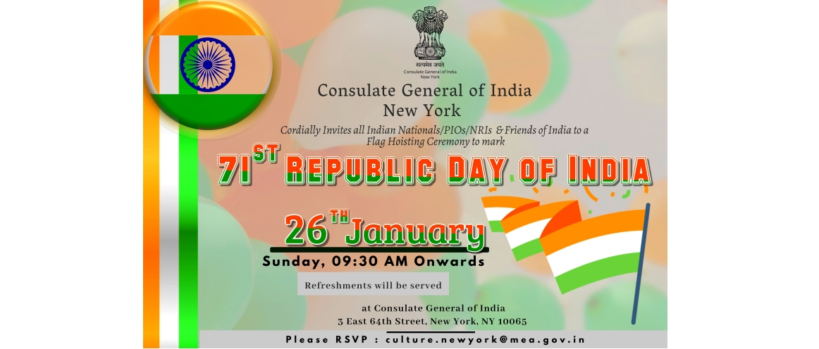 71st Republic Day Celebrations@Consulate on January 26, 2020