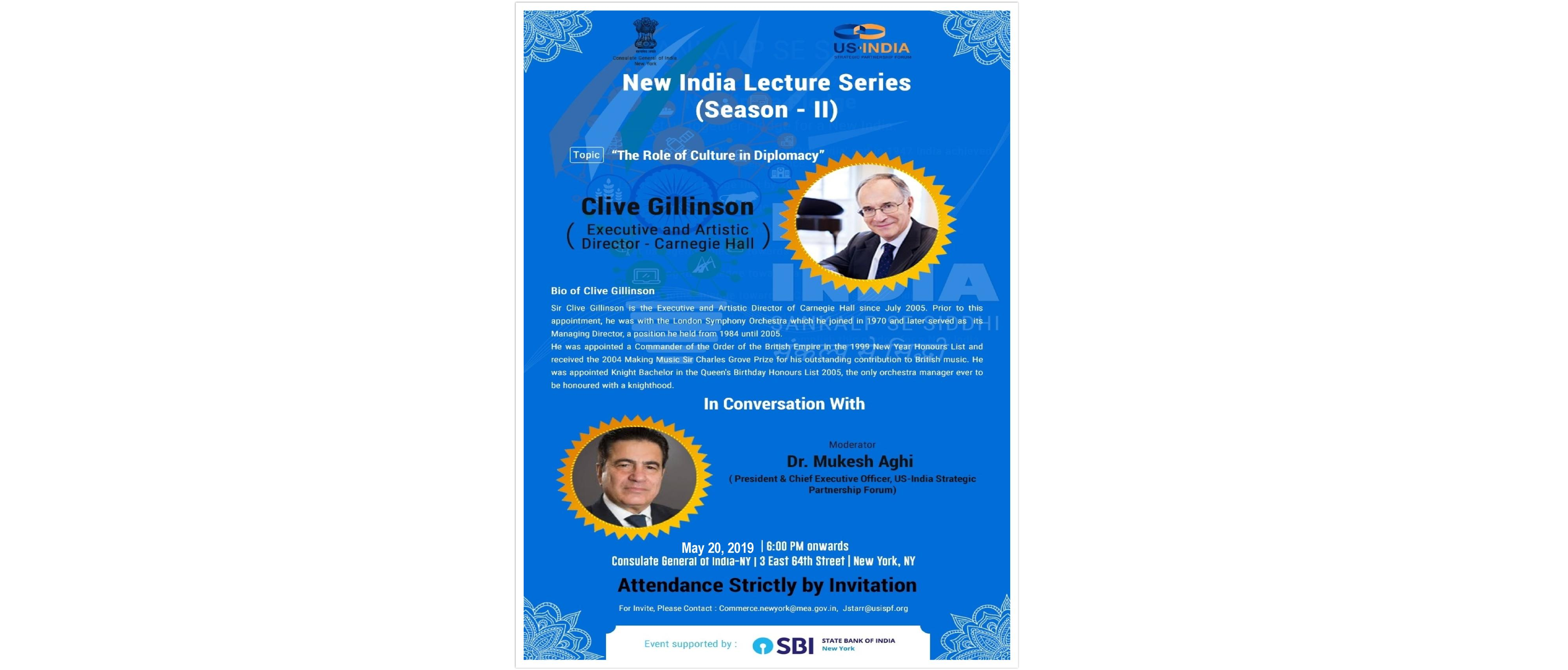 New India Lecture Series (Season II) on May 20, 2019 – Entry Strictly by Invitation Only