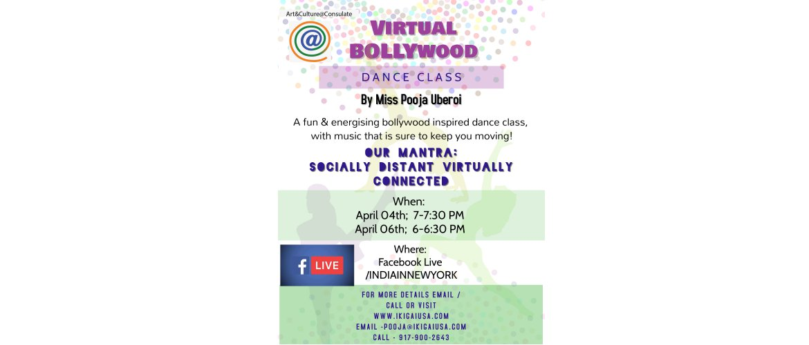 Virtual Bollywood Dance Class (Facebook Live) on April 04 & April 06