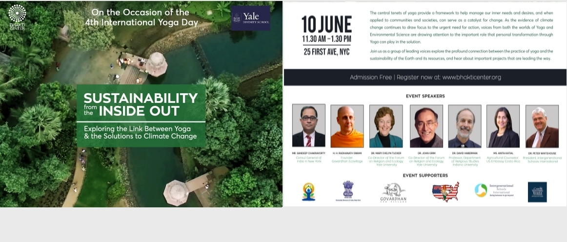 "Conference on the Occasion of 4th International Day of Yoga Celebrations ""Sustainability from the Inside Out - Exploring the Link Between Yoga & the Solutions to Climate Change"" on June 10, 2018"