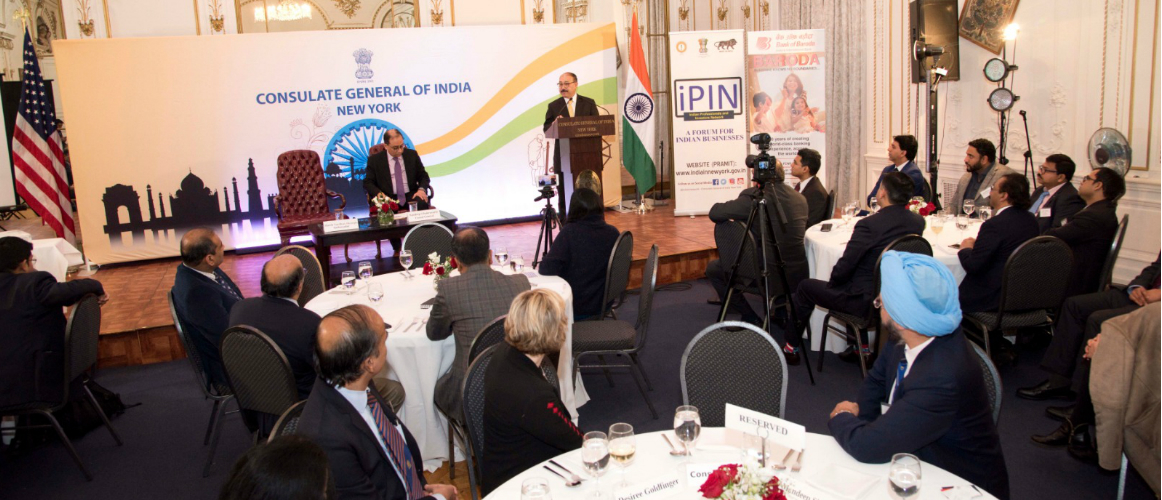 Ambassador Harsh Vardhan Shringla, India's Ambassador to the US, addressing iPIN Members at Consulate General of India, New York