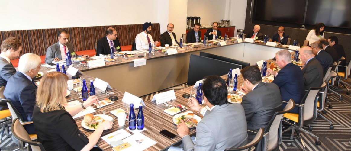 Ambassador Harsh Vardhan Shringla, India's Ambassador to the US interacting with CEOs Mastercard, Bank of America, Squire Patton Boggs, Warburg Pincus, S&P Global, Brunswick Group, HARMAN, EXL Service, Goldman Sachs, Reliance Communications, Amneal Pharmaceuticals