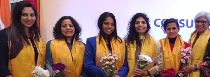 Women Pilots of Air India were felicitated at the India Consulate, New York on the occasion of International Women's Day (March 8, 2018)