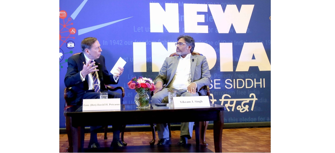 General (Ret) David H. Petraeus and Vikram J. Singh at New India Lecture Series (Season II) on July 23, 2019