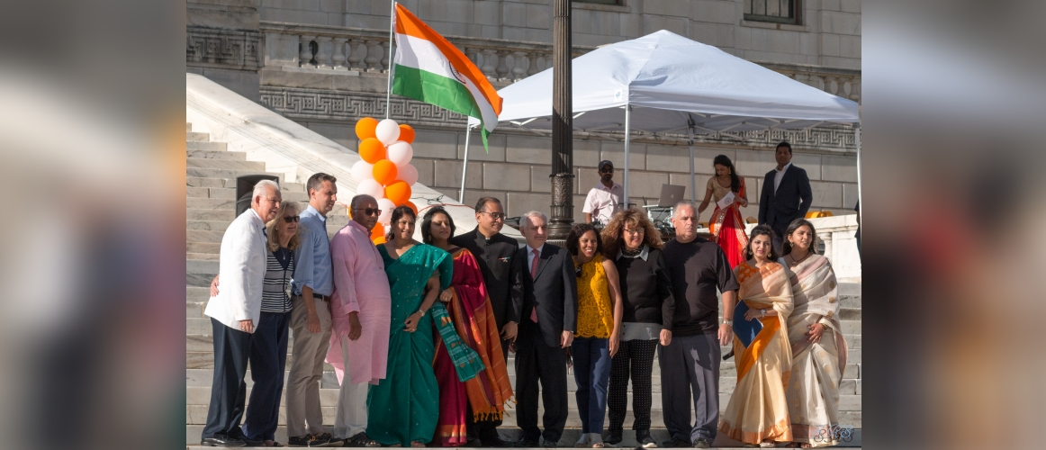 Senator Jack Reed with Consul General & other members of Indian community at India Independence Day Celebrations on August 10, 2019
