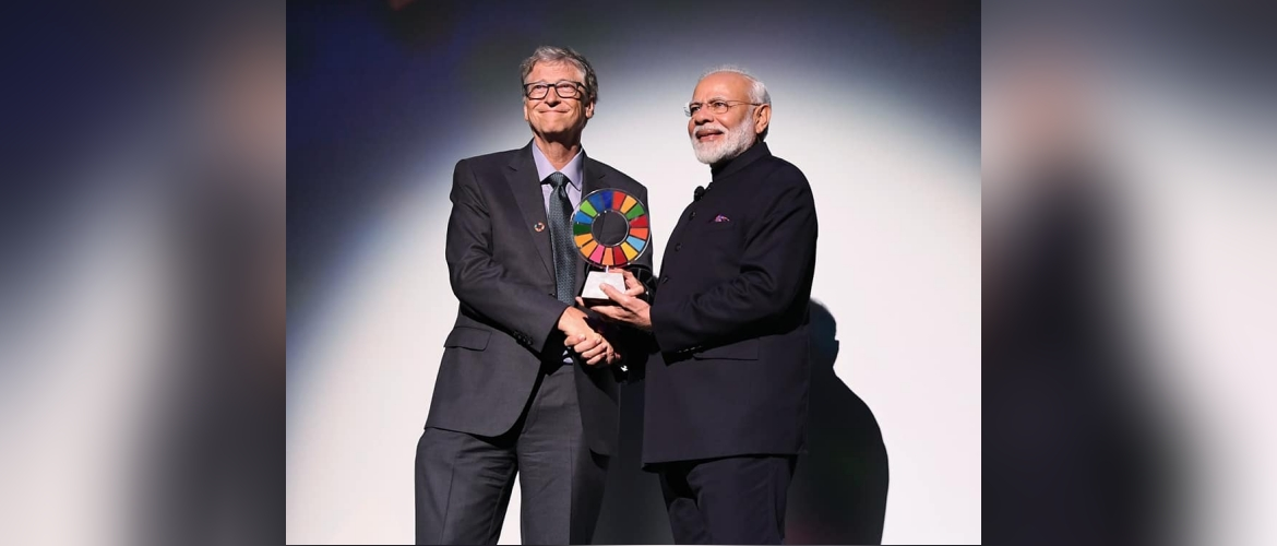 "Prime Minister Narendra Modi receives ""Global Sanitation Goalkeeper"" Award by Gates Foundation for Swachh Bharat"