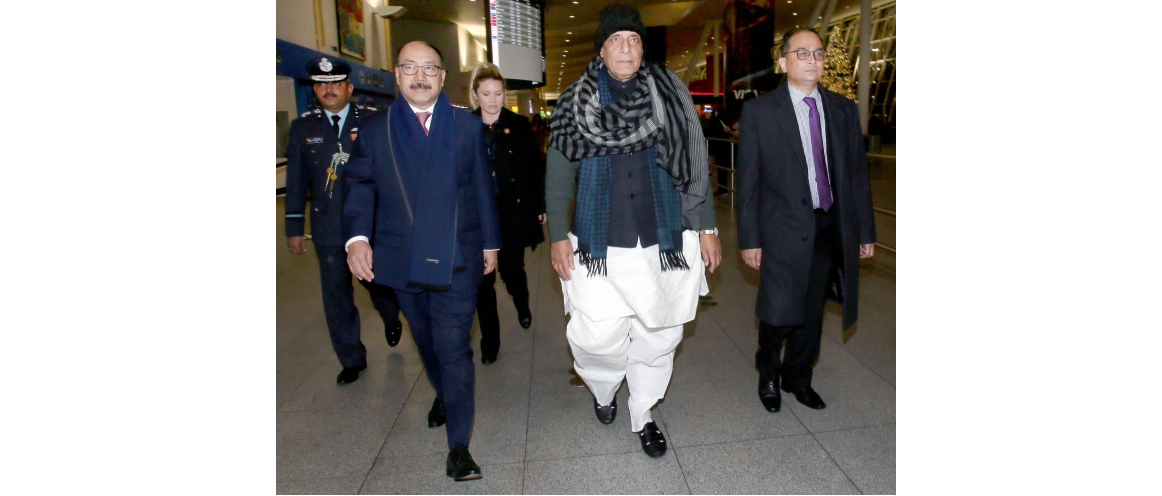 Hon'ble Defence Minister of India Shri Rajnath Singh arrived in New York on his way to Washington for the 2+2 dialogue