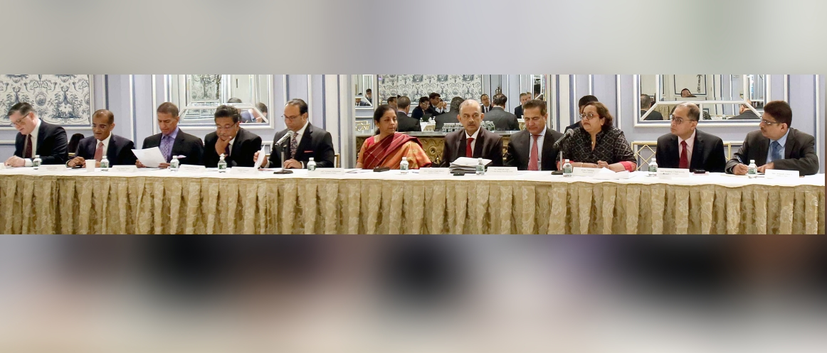 Nirmala Sitharaman, Hon'ble Minister of Finance and Corporate Affairs at a roundtable conference interacting with the Investor Community in New York