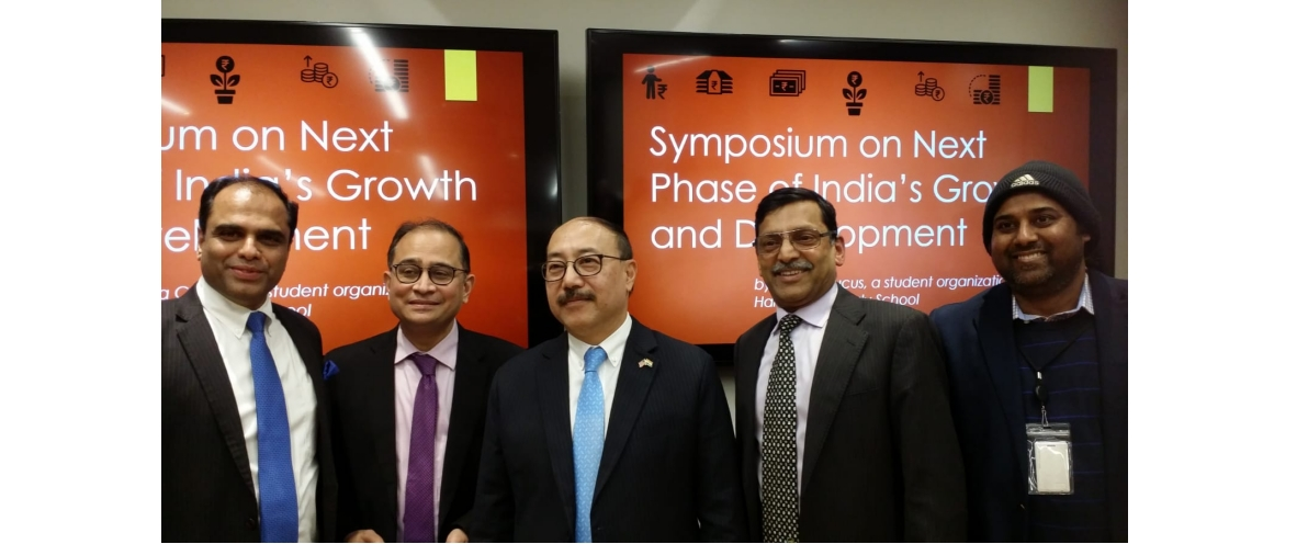 Amb. Harsh Vardhan Shringla addressed students and faculty of Kennedy School at Harvard and other universities in Boston at a symposium on 'The next phase of India's growth and development' on Dec 6, 2019