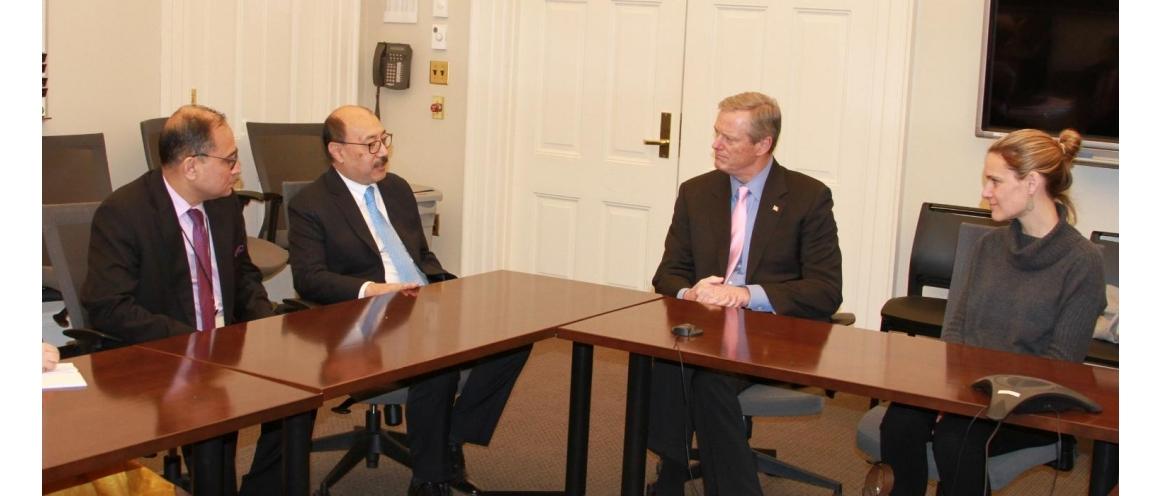 Amb. Harsh Vardhan Shringla met Governor of Massachusetts  Charles Baker IV on Dec 06, 2019 and discussed strengthening cooperation between India and Massachusetts in various sectors