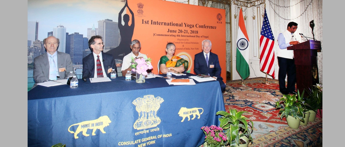 1st International Yoga Conference, New York (June 20 – 21, 2018). (Day 1) Session 1 - Theme : Origin: Yoga in ancient Indian texts, contribution of Chanakya. The speakers include: Dr. Shubhada Joshi (India), Dr. Radhakrishnan Pillai (India), Dr. Peter Scharf (USA), Dr. Alaric Arenander (USA), Dr. Fred Travis (USA), (Moderator) Dr. Gangadharan Nair Gopalapillai (India)