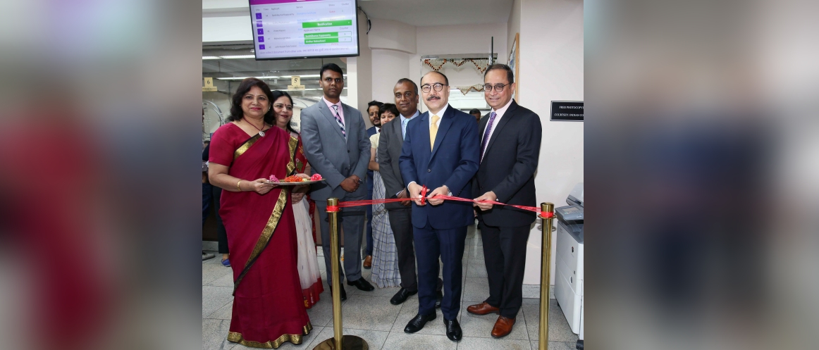 Ambassador Harsh V. Shringla inaugurated the new Queue Management System (QMS) at the Consulate<br />July 15, 2019