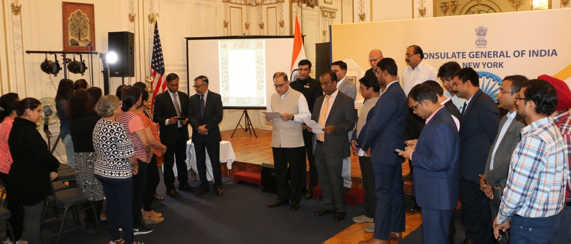 Team Consulate reading the Preamble on the occasion of the 70th Constitution Day of India on November 26, 2019