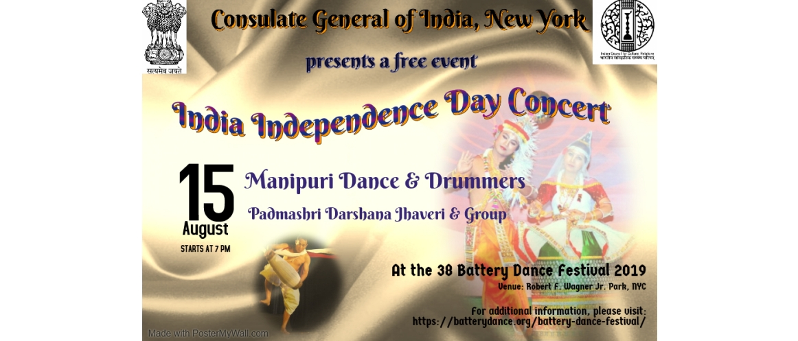 <!--38 Battery Dance Festival 2019-->India Independence Day Concert on August 15, 2019