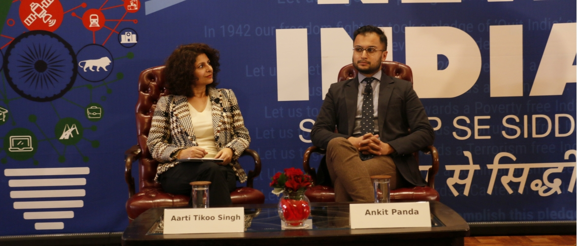 Aarti Tikoo Singh and Ankit Panda at New India Lecture on Nov 4, 2019