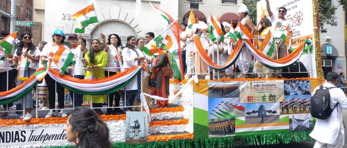 Indian Consulate float at FIA's India Day Parade on August 18, 2019
