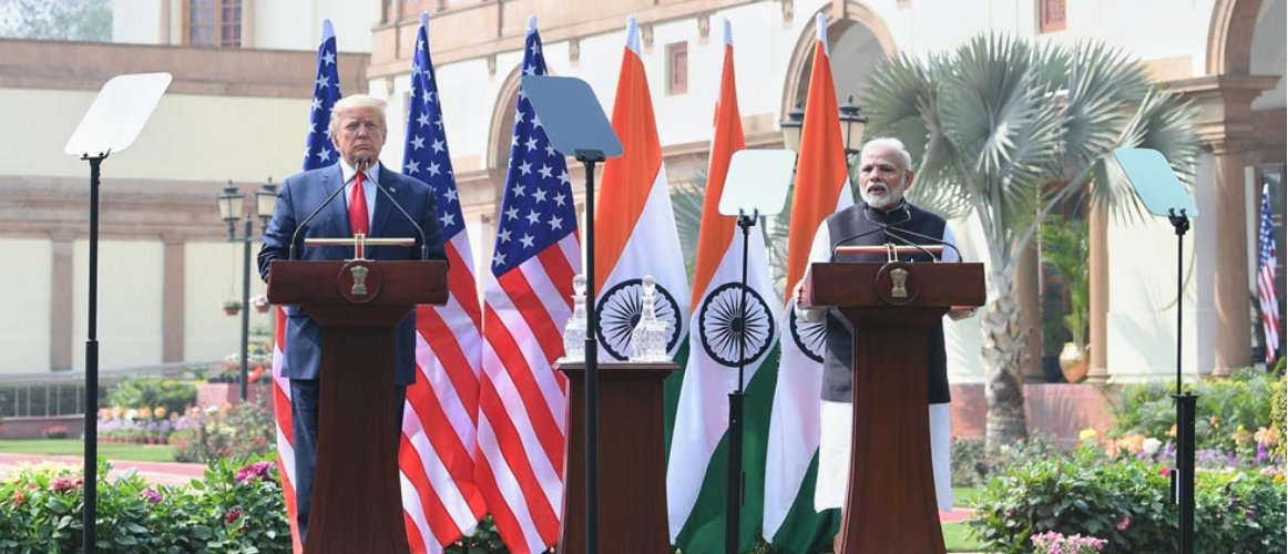 Prime Minister delivers his Press Statement during State Visit of President of the United States of America to India at Hyderabad House, New Delhi