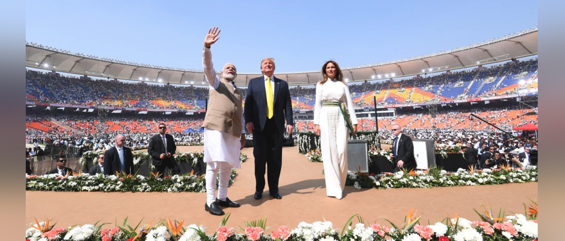 Prime Minister Narendra Modi and US President Donald Trump addresses the 'Namaste Trump' community programme in Ahmedabad